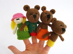 Goldilocks and three bears - Crochet finger puppets - Amigurumi - Set of finger puppets - Finger Puppets - Fairy tale. $28.00, via Etsy.