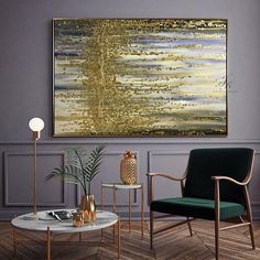 Large Abstract Oil Painting Gold Leaf Painting Silver Leaf This is an original professional painting right from my favorite studio. Signature front and back. DETAILS * Name: Abstract Melody 2017 * Painter: Julia Kotenko * Size: 47 x 31 (120x 80 cm) * Original handmade oil painting