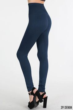"""Not See-Thru Navy Leggings 5"""" Waistband  Searching for not see-thru leggings?  We have them!  These navy leggings are perfect to wear with any top, no matter the length! They sport a 5"""" high waistband for tummy control too! Great color for Fall & Winter!  One Size  92% Nylon 8% Spandex Made in USA FREE SHIPPING!!! Great Fit:"""