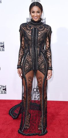 AMAs 2015: CIARA wore a sheer black floor-length gown with intricate detailing by Reem Acra.