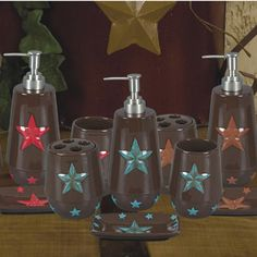 4PC Star Bathroom Set  (Available in Red and Turquoise)