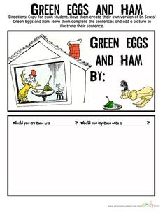 Seuss Green Eggs and Ham activities for the classroom for Read Across America Dr. Seuss Green Eggs and Ham activities for the classroom for Read Across America Dr Seuss Activities, Writing Activities, Classroom Activities, Classroom Ideas, Holiday Activities, Kindergarten Reading, Kindergarten Classroom, Autism Classroom, Reading Fluency