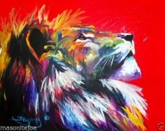 ABSTRACT ORIGINAL ART COLORFUL CANVAS PAINTING 16X20 LION MARC BROADWAY