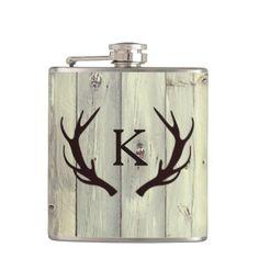 Rustic Deer Antler with Monogram Pale Barn Wood Hip Flask