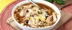 Slow Cooker BBQ Chicken Soup- Combine your loves of summer BBQs and soup with this hearty, comforting bowl of goodness! Slow Cooker Bbq, Slow Cooker Chicken, Slow Cooker Recipes, Crockpot Recipes, Cooking Recipes, Healthy Recipes, Bbq Chicken, Healthy Soup, Crock Pot Soup