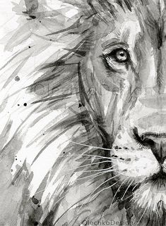 Lion Watercolor Painting Black and White Lion Art Print Jungle Nursery Safari Animals Nursery P Watercolor Lion, Watercolor Animals, Watercolor Painting, Tattoo Watercolor, Animal Paintings, Animal Drawings, Art Drawings, Drawing Animals, Animal Sketches