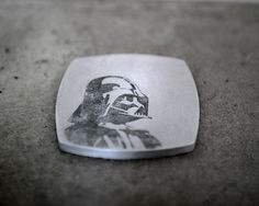 """Concrete coaster with Star Wars images. Images are inked into the pores of the concrete and will last permantly. - Beton Untersetzer mit Star Wars Motiven. Die Motive sind in die Poren """"tätowiert"""" und verblassen nicht."""