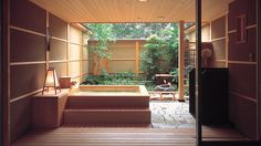 Indoor/outdoor Japanese bath.