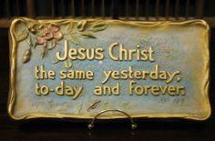 Vintage 1928 Large Scripture Plaque A E Mitchell Co Heb 13 8 | eBay