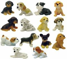 Adopt a Puppy Figures - Set of 14 Vending Machine Toys by AA. $7.66. These adorable puppies were made for .75 cent vending machines. No need to drive over town looking for them and hoping to make a complete set. We have done the work for you. You will get the complete set of 14 different puppies. Each puppy is approx. 1.25 long and .75 inches tall. They are small but detailed and very cute. These would make great party favors, goodie bags or cake toppers. Please note: C...