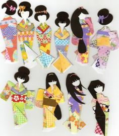 Kimono Paper Doll Book-Fancy Ningyo Forms, Washi Origami