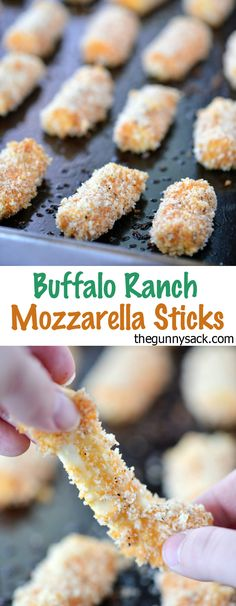 This easy recipe for baked Buffalo Ranch Mozzarella Sticks is so delicious. These homemade mozzarella sticks are perfect for serving as an appetizer at parties! Could definitely thm-ify this! Finger Food Appetizers, Yummy Appetizers, Appetizers For Party, Yummy Snacks, Appetizer Recipes, Snack Recipes, Cooking Recipes, Yummy Food, Tasty