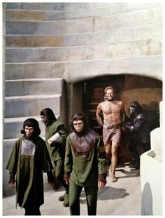 Zira (Kim Hunter), Cornelius (Roddy McDowall), and Colonel George Taylor (Charlton Heston) - Planet of the Apes Plant Of The Apes, Saga, Horror Films, Horror Art, Adventure Movies, Classic Monsters, Science Fiction Art, Sci Fi Movies, Movies