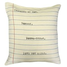 A notebook pillow with sweet words