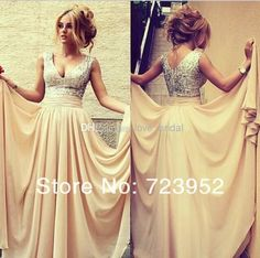Wholesale Cocktail Dress - Buy Plus Size 2014 Fashion Sexy Sparking Sliver Sequins Beads Formal Evening Dresses Nude Chiffon V-Neck A-Line Draped Women Prom Party Gowns, $94.25 | DHgate