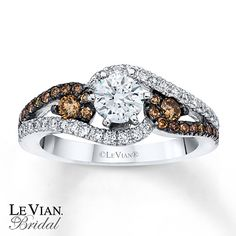 Le Vian Engagement Ring Chocolate Diamonds 14K Vanilla Gold