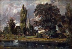Full title: Salisbury Cathedral and Leadenhall from the River Avon