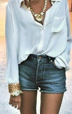 flowy + white blouse + high waisted + jean shorts + gold statement necklace + gold bracelet stack