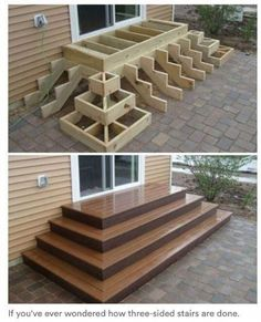 Home Discover Deck stairs - 27 gorgeous patio deck design ideas to inspire you updowny com Outdoor Projects Home Projects Project Projects Backyard Projects Types Of Stairs Deck Stairs Wood Stairs Front Porch Stairs House Stairs Backyard Patio, Backyard Landscaping, Wood Patio, Wood Decks, Wood Deck Designs, Backyard Layout, Patio Decks, Landscaping Ideas, Backyard Deck Designs