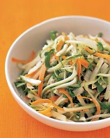 Use bok choy(also called Chinese white cabbage)  to give slaw an Asian flair. Season the lemony  dressing with fresh grated ginger.