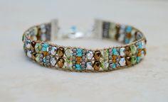 Loomed Beaded Bracelet . Earthy . Czech Glass . Artisan