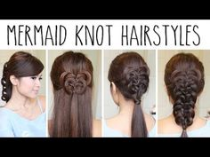 3 Easy Knotted Hairstyles - Butterfly Knot, Mermaid Knot & Knotted Ponytail How to Video Tutorial by Bebexo.