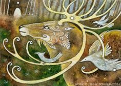 Sylvan Guardian - ACEO by Inku-inku on DeviantArt   WATERCOLOR, WHITE INK