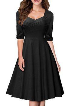 Vintage Sweetheart Neck Half Sleeve Pure Color Dress For Women
