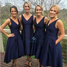 Navy Blue Short Satin Bridesmaid Dresses Hi-Lo Evening Dress Prom Party Dresses
