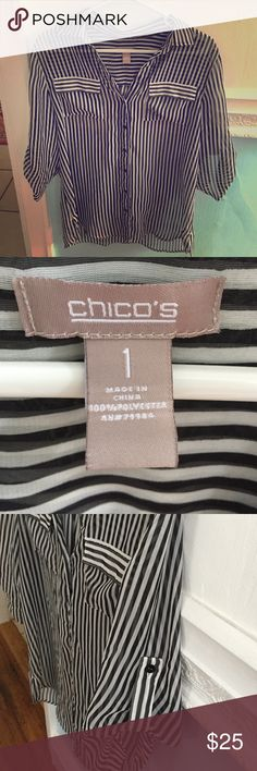 Chicos Sheer Black and White Striped Blouse This blouse is super cute perfect for business casual wear. Looks very good with a black or white tank top underneath. The material and  thin and sheer. 100% polyester. Says size 1 , pictured above fits like a medium. Chico's Tops Blouses