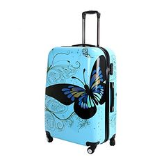 28 Blue Butterfly Upright Spinner Travel Luggage Suitcase 4 Wheel Cabin Trolley Set * Be sure to check out this awesome product. Note:It is Affiliate Link to Amazon.
