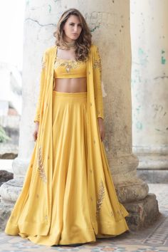 Shop Prathyusha Garimella Mustard yellow lehenga with blouse & jacket , Exclusive Indian Designer Latest Collections Available at Aza Fashions Indian Wedding Gowns, Indian Gowns, Indian Attire, Pakistani Dresses, Indian Outfits, Indian Wear, Indian Style, Wedding Dresses, Indian Designer Outfits