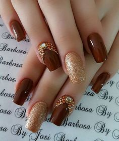 77 Trendy Brown Nail Art Designs and Ideas - Brown nail designs are of great diversity because they have dominated the market since a long time - Brown Nail Art, Gold Nail Art, Brown Nails, Gold Art, Edgy Nail Art, Brown Art, Stylish Nails, Trendy Nails, Glitter Nails