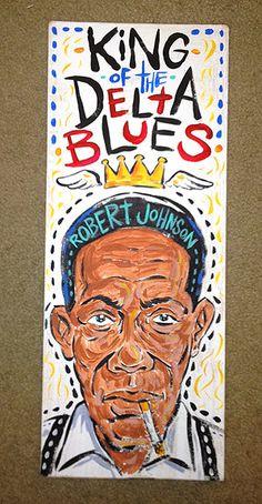 Robert Johnson - King of the Delta Blues Robert Johnson, Jazz Blues, Blues Music, Blues Rock, Jimi Hendricks, Delta Blues, Blue Poster, Jazz Musicians, African American Art