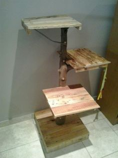 Pallet wood cat tree. My father made it in a day.