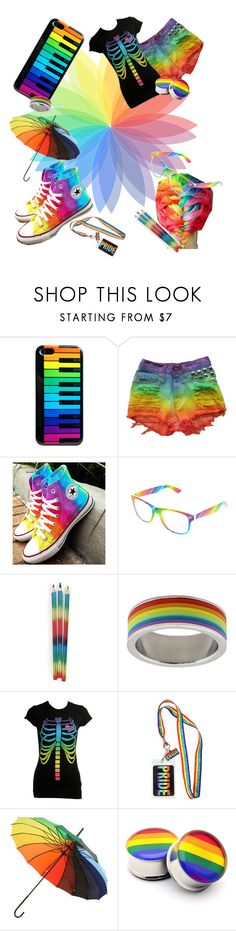 """Rainbow"" by cender111 on Polyvore featuring Converse, Retrò, Rush Industries and Wet Seal"