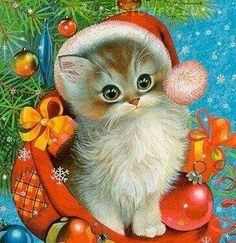 Tubes de Noel page 11 Cat Christmas Cards, Hello Kitty Christmas, Christmas Scenes, Christmas Animals, Vintage Christmas Cards, Christmas Pictures, Christmas Fun, Xmas, Illustration Noel