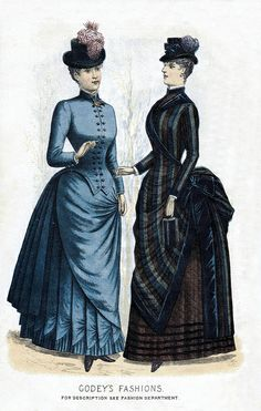 1884 - Godey's Ladies' Book  I especially like the bodice and pleats on the blue dress
