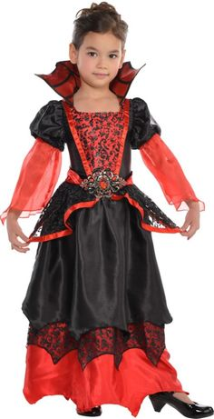 This Vampire Queen has centuries of deadly experience! Our Vampire Queen Costume for toddler girls features a gothic red and black gown with brocade design on the bodice and sheer red tulle sleeves. Fancy Dress Costumes Kids, Childrens Halloween Costumes, Halloween Costume Shop, Toddler Costumes, Halloween Kids, 50s Costume, Hippie Costume, Halloween 2018, Costume Makeup