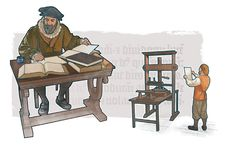 Un hombre traduciendo la Biblia y una imprenta antigua