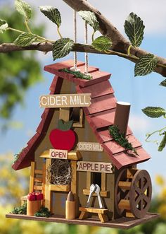 Wooden Hanging Apple Birdhouse