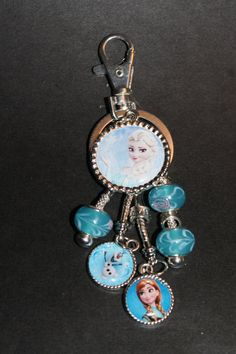 Frozen Theme Key Ring Pandora Style Murano Beads by Weebledogs