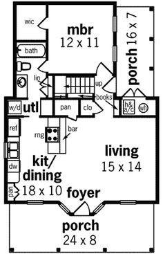 Cabins And Cottages: small cabin floor plans Cottage Style House Plans, Cottage Style Homes, Cottage House Plans, Small House Plans, Backyard Cottage, Garden Cottage, Bedroom With Bath, Master Bedroom, Master Bath