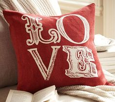 "Love Pillow Cover - 18"" square   Made of pure cotton.  Reverses to self.   #potterybarn"
