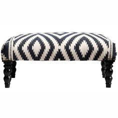 Gorgeous.  Rug Collective Ethnic Chic Kilim Trellis Wood Bench
