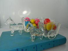 Vintage Donkey and Wagon Clear Pressed Glass Set by 3sisterssmalls, $18.99