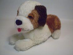 """Dakin Saint Bernard Plush Puppy Dog Bean Bag Lying Stuffed Animal 1978 Toy 8"""" #Dakin"""