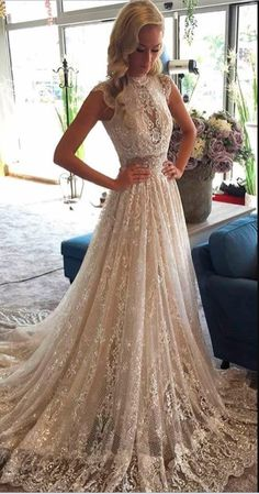 Stunning Appliques High Neck Lace Wedding Dress with Sequins Atemberaubende Applikationen High Neck Lace Brautkleid mit Pailletten Wedding Dress Necklace, Lace Wedding Dress, Country Wedding Dresses, Perfect Wedding Dress, Dream Wedding Dresses, Bridal Dresses, Wedding Gowns, Prom Dresses, Wedding Bride