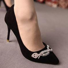D80021 Kvoll Fashion Rhinestone Bowknot Pointed-toe High-heeled Pump Black