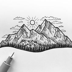 Collection of pen mountain drawing. fra skitser til tegning. Landscape Drawings, Simple Landscape Drawing, Mountain Landscape Drawing, Sunset Landscape, Landscape Paintings, Pen Art, Drawing Sketches, Drawing Ideas, Doodle Drawings